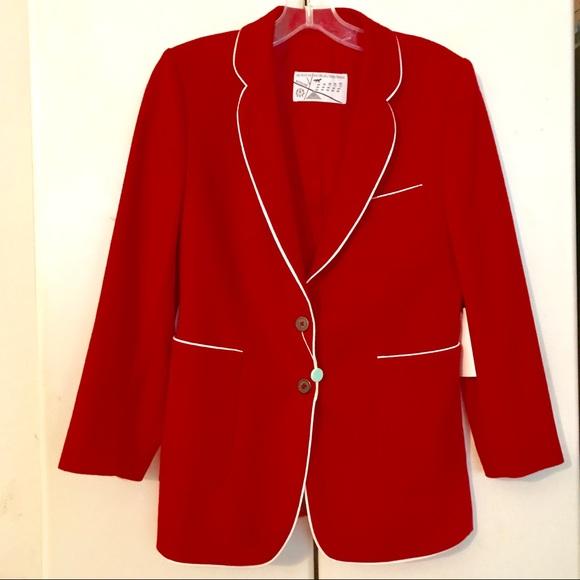 MAISON KITSUNE Jackets & Blazers - MAISON KITSUNE NEW W TAGS RED BLAZER/WHITE PIPING